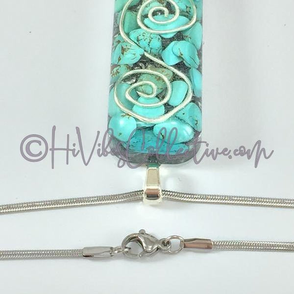 "Rectangular Orgone ""S"" Spiral Pendant with Turquoise Howlite and Aluminum Shavings (R-0010)-HiVibes Collective"