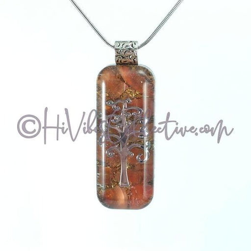 Rectangular Orgone Tree of Life Pendant with Carnelian and Brass Shavings (R-0005)-HiVibes Collective