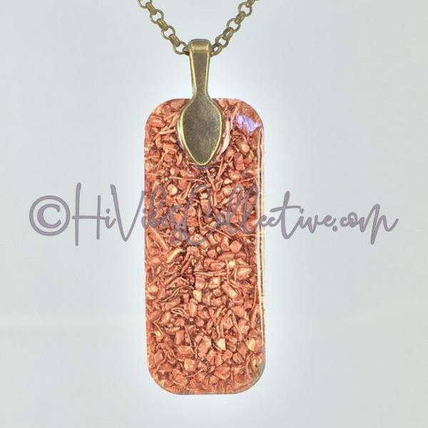 Rectangular Orgone Tree of Life Pendant with Chakra Stones and Copper Shavings (R-0002)-HiVibes Collective