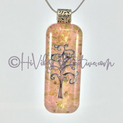 Rectangular Orgone Tree of Life Pendant with Peridot and Opaque Pink Back (R-0013)-HiVibes Collective