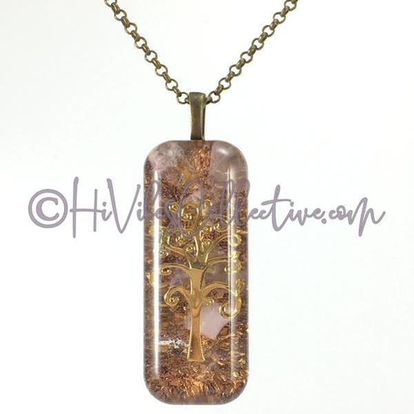 Rectangular Orgone Tree of Life Pendant with Rose Quartz and Brass Shavings (R-0007)-HiVibes Collective