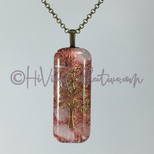Rectangular Orgone Tree of Life Pendant with Rose Quartz and Copper Shavings (R-0006)-HiVibes Collective