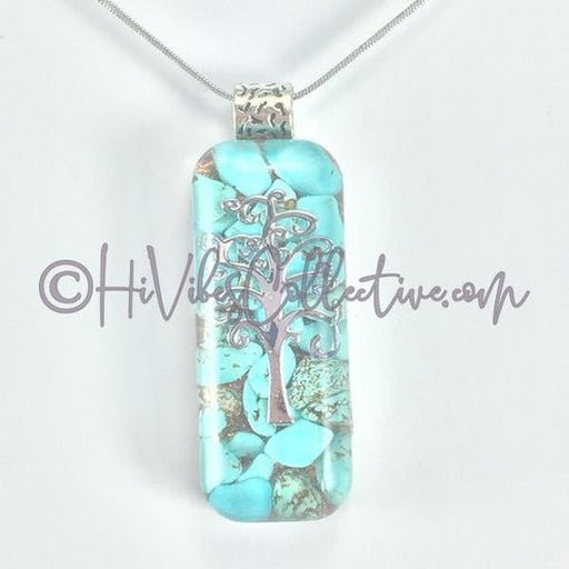 Rectangular Orgone Tree of Life Pendant with Turquoise Howlite and Copper Shavings (R-0003)-HiVibes Collective