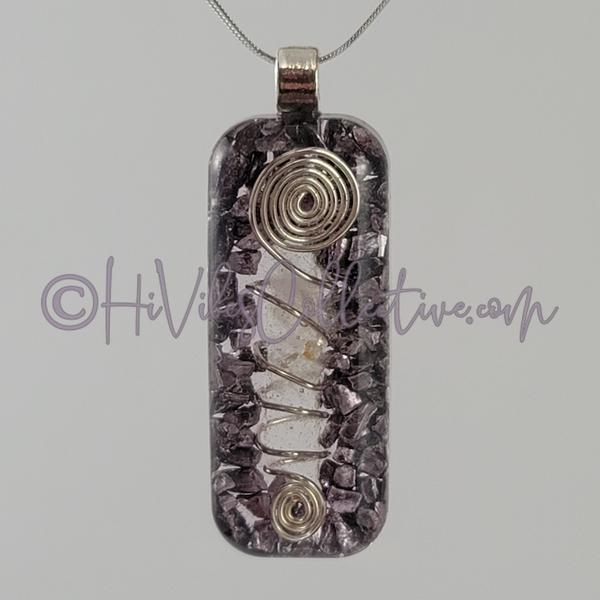 Rectangular Orgone Wire-Wrapped Crystal Quartz and Aluminum Shavings (Tight Spiral) (R-0014) - HiVibes Collective