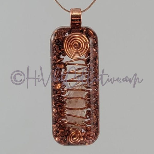 Rectangular Orgone Wire-Wrapped Crystal Quartz and Copper (Tight Spiral) (R-0023)-HiVibes Collective