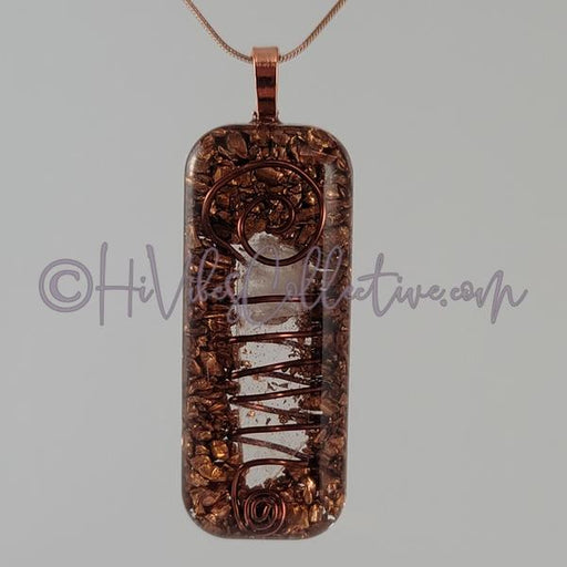 Rectangular Orgone Wire-Wrapped Crystal Quartz and Copper (Wide Spiral) (R-0022)-HiVibes Collective