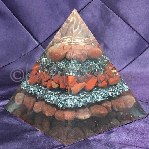Red Aventurine and Red Jasper Orgone Pyramid w/Double Wire Spiral (PY-008)-HiVibes Collective