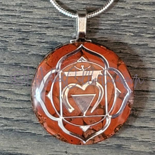 Root Chakra Circular Orgone Pendant with Red Jasper and Copper (C-0043)-HiVibes Collective