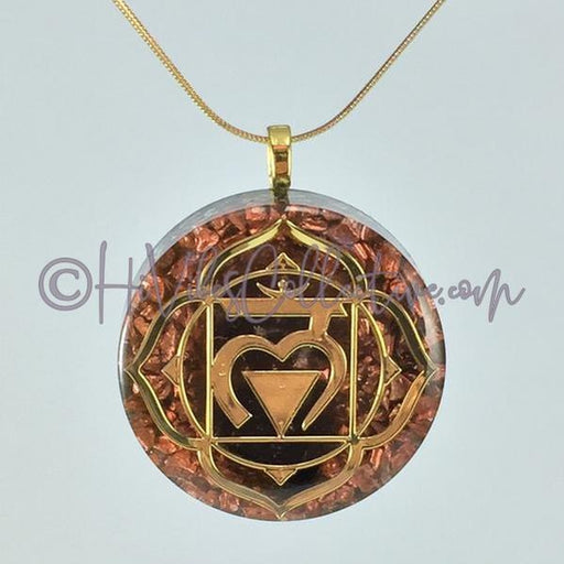 Root Chakra Circular Orgone Pendant with Smokey Quartz and Aluminum Shavings (C-0013)-HiVibes Collective