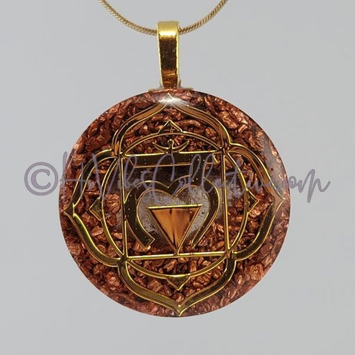 Root Chakra Circular Orgone Pendant with Smokey Quartz and Copper (C-0047)-HiVibes Collective