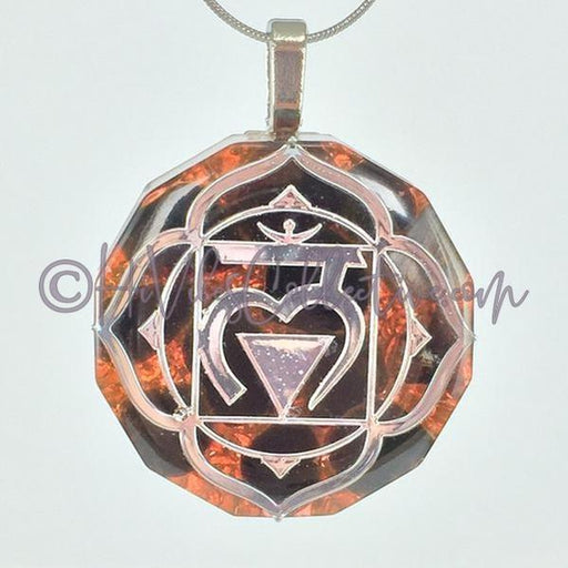 Root Chakra Dodecagon Orgone Pendant with Obsidian and Copper Shavings (D-0015)-HiVibes Collective