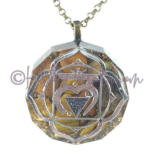 Root Chakra Dodecagon Orgone Pendant with Tiger's Eye and Brass Shavings (D-0025)-HiVibes Collective