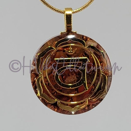Sacral Chakra Circular Orgone Pendant with Carnelian and Aluminum or Copper (C-0039)-HiVibes Collective