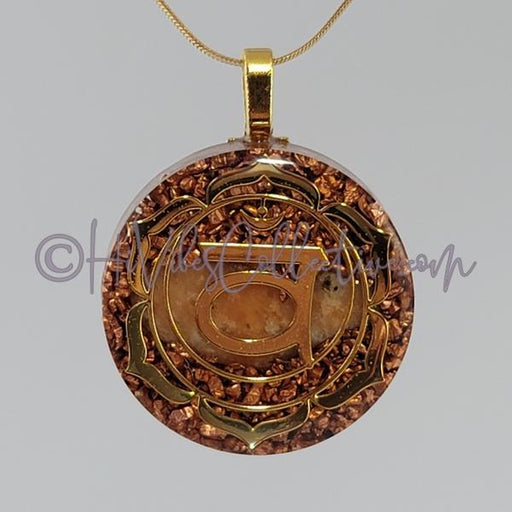 Sacral Chakra Circular Orgone Pendant with Orange Calcite and Copper (C-0040)-HiVibes Collective