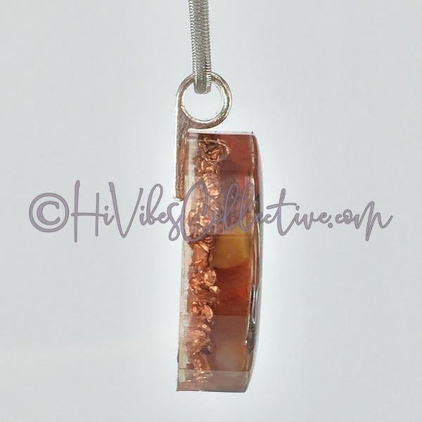 Sacral Chakra Dodecagon Orgone Pendant with Carnelian and Copper Shavings (D-0013)-HiVibes Collective