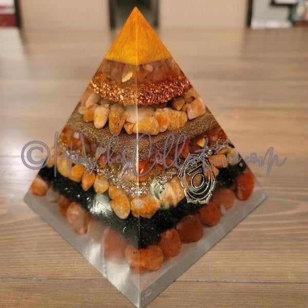 Sacral Chakra Orgone Pyramid (PY-0022)-HiVibes Collective