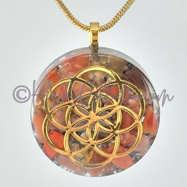 Seed of Life Circular Orgone Pendant with Carnelian and Aluminum Shavings (C-0027)-HiVibes Collective