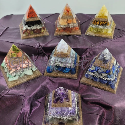 Small 7 Chakra Orgone Pyramid (Set of 7) (PY-34-40-Set)-HiVibes Collective