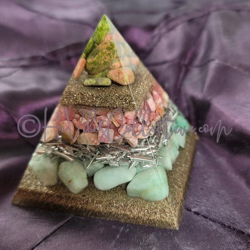 Small Heart Chakra Orgone Pyramid (PY-0037)-HiVibes Collective