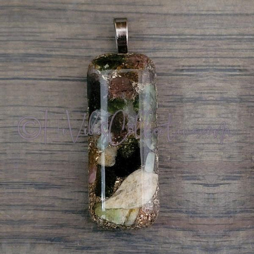 Small Rectangular Orgone Pendant with Rainbow Tourmaline and Pink Brass Shavings (SR-0013) - HiVibes Collective
