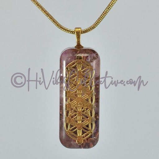 Small Rectangular Orgone with Flower of Life/Tree of Life Design, Amethyst and Copper Shavings (SR-0010) - HiVibes Collective