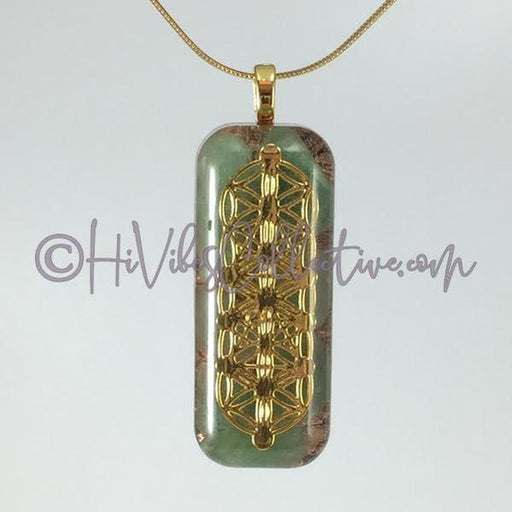Small Rectangular Orgone with Flower of Life/Tree of Life Design, Green Aventurine and Copper Shavings (SR-0008) - HiVibes Collective