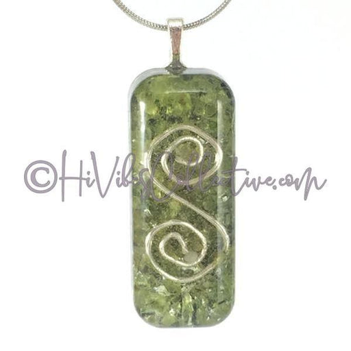 Small Rectangular Orgone with S-Spiral Design, Peridot and Aluminum Shavings (SR-0004)-HiVibes Collective