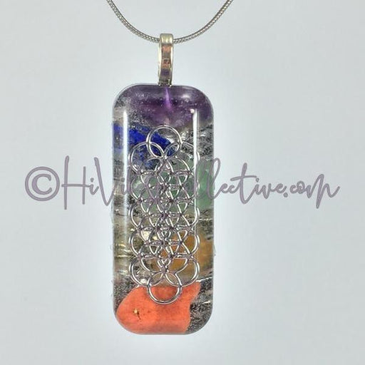 Small Rectangular Orgone with Seed of Life Design, Multiple Stones and Aluminum Shavings (SR-0001) - HiVibes Collective