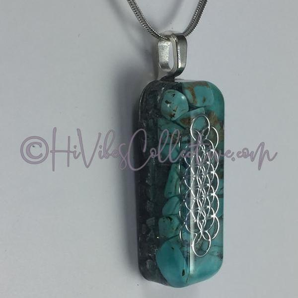 Small Rectangular Orgone with Seed of Life Design, Turquoise Howlite and Aluminum Shavings (SR-0005) - HiVibes Collective