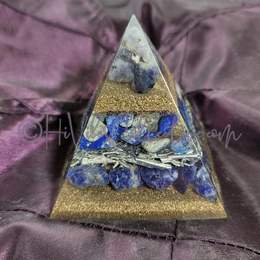Small Third Eye Chakra Orgone Pyramid (PY-0035)-HiVibes Collective