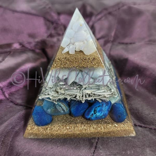 Small Throat Chakra Orgone Pyramid (PY-0036)-HiVibes Collective