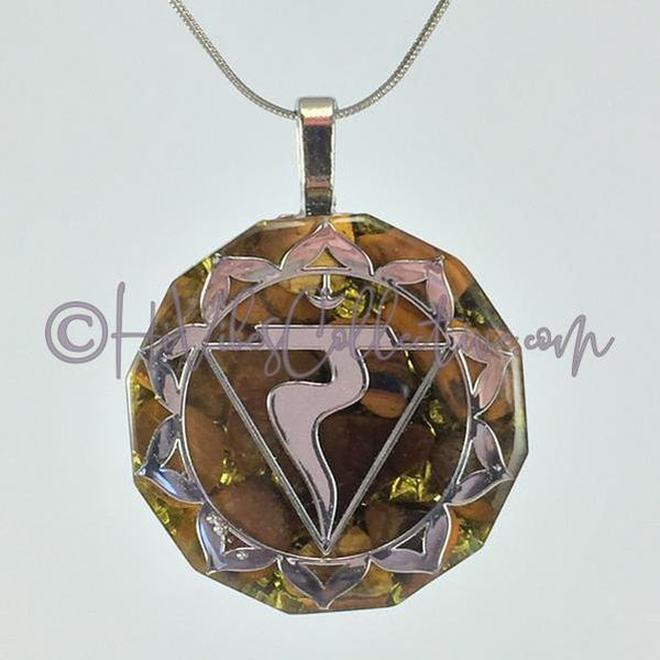 Solar Plexus Chakra Dodecagon Orgone Pendant with Tiger's Eye and Aluminum Shavings (D-0010)-HiVibes Collective