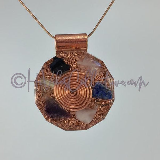 Spiral Dodecagon Orgone Pendant with Multiple Crystals and Copper Shavings (D-0006)-HiVibes Collective