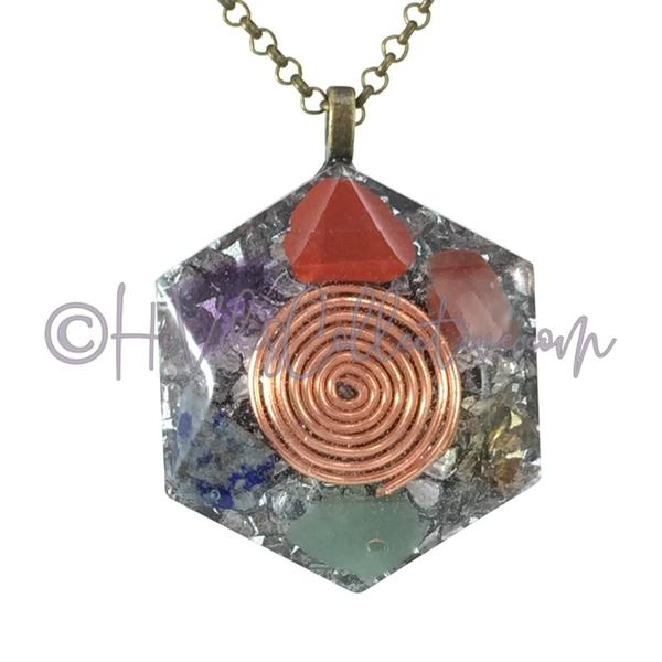 Spiral Hexagon Orgone Pendant with Chakra Stones and Aluminum Shavings (H-0005)-HiVibes Collective