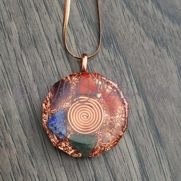 Sprial Dodecagon Orgone Pendant with Chakra Stones and Copper Shavings (D-0012)-HiVibes Collective