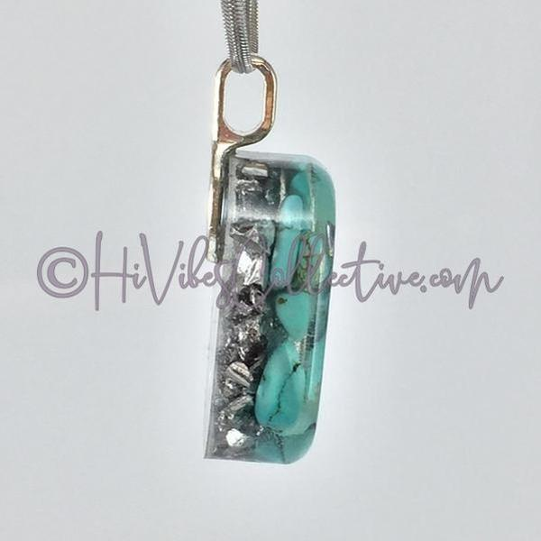 "Square Orgone ""Air"" Pendant with Turquoise Howlite and Aluminum Shavings (S-0005)-HiVibes Collective"