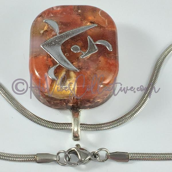 "Square Orgone ""Fire"" Pendant with Carnelian and Copper Shavings (S-0006)-HiVibes Collective"