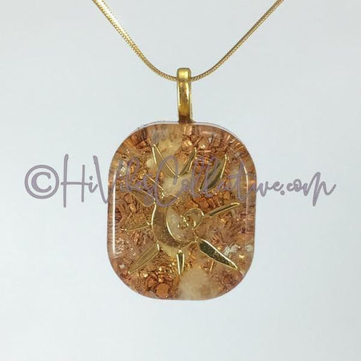 "Square Orgone ""Light"" Pendant with Citrine and Copper Shavings - 15 choices (S-0003)-HiVibes Collective"