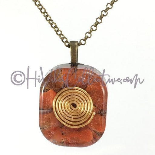 Square Orgone Spiral Pendant with Red Jasper and Brass Shavings (S-0004)-HiVibes Collective