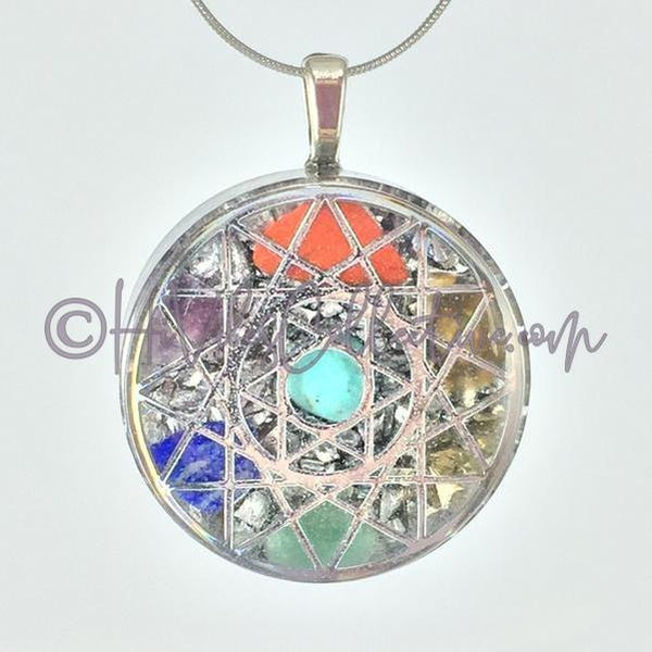 Star of David Circular Orgone Pendant with 7 Chakra Stones and Aluminum Shavings (C-0022)-HiVibes Collective