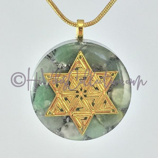 Star of David Circular Orgone Pendant with Green Aventurine and Aluminum Shavings (C-0024)-HiVibes Collective