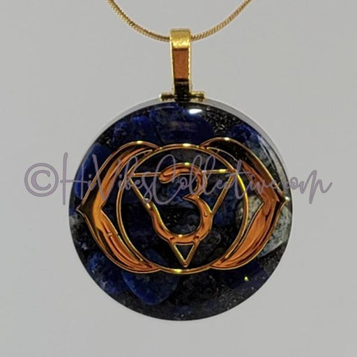 Third Eye Chakra Circular Orgone Pendant with Lapis Lazuli and Aluminum or Pink Brass (C-0036)-HiVibes Collective