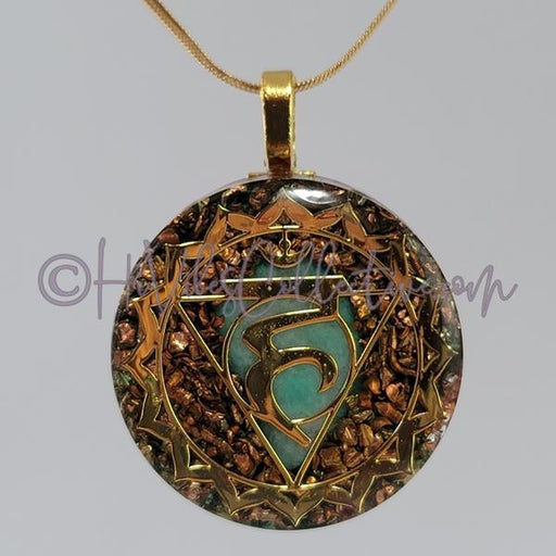 Throat Chakra Circular Orgone Pendant with Amazonite and Copper (C-0037)-HiVibes Collective