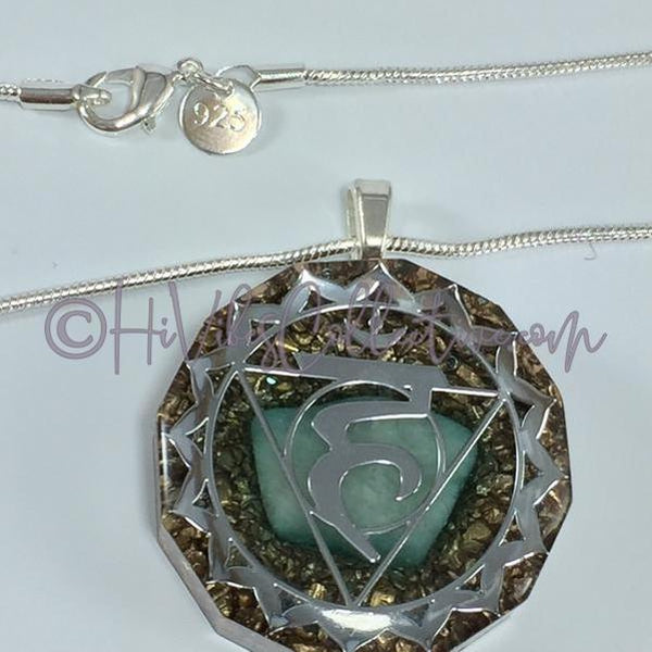 Throat Chakra Dodecagon Orgone Pendant with Amazonite and Copper Shavings (D-0018)-HiVibes Collective
