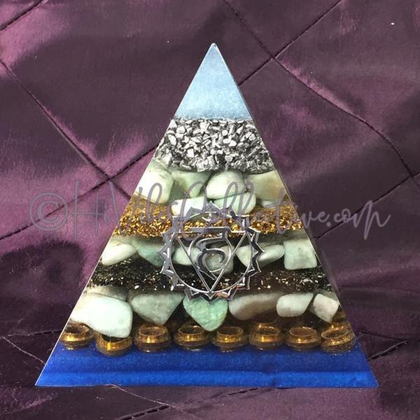 Throat Chakra Orgone Pyramid (PY-0014)-HiVibes Collective