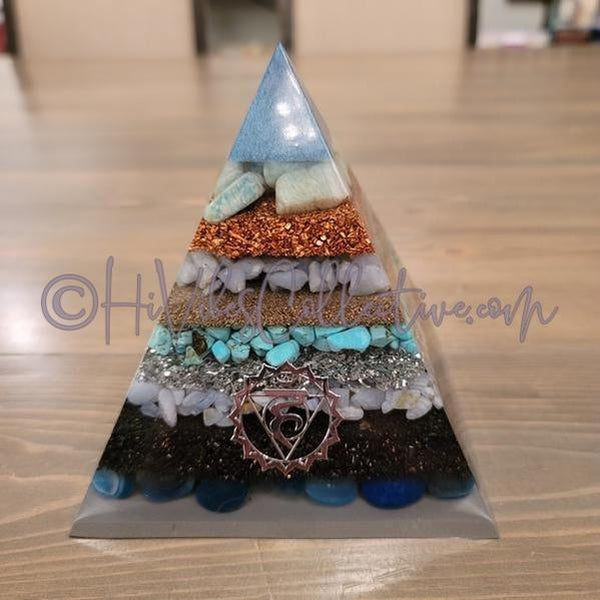 Throat Chakra Orgone Pyramid (PY-0019)-HiVibes Collective