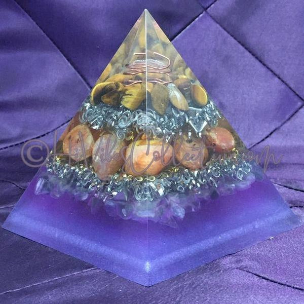Tiger's Eye, Carnelian, & Fluorite Orgone Pyramid w/Triskelion Wire Wrap (PY-005)-HiVibes Collective