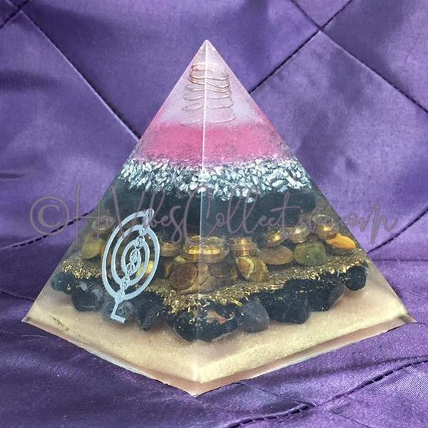 Tiger's Eye, Obsidian, & Onyx Orgone Pyramid w/ 7 Chakra Sticker (PY-004)-HiVibes Collective