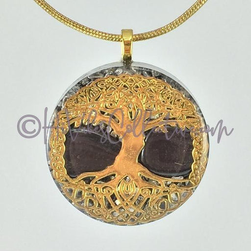 Tree of Life Design Circular Orgone Pendant with Hematite and Aluminum Shavings (C-0026)-HiVibes Collective