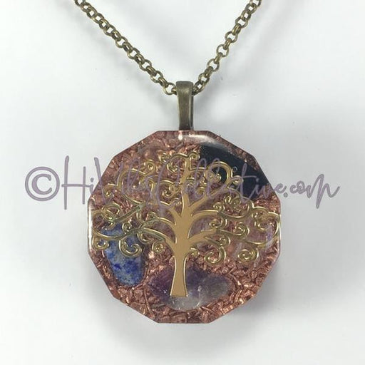 Tree of Life Dodecagon Orgone Pendant with Multiple Crystals and Copper Shavings (D-0007)-HiVibes Collective